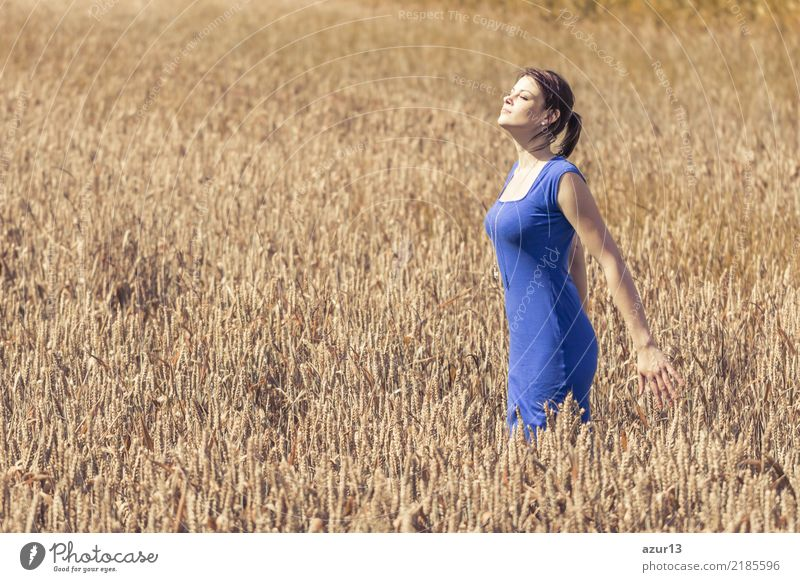 Woman Human being Nature Youth (Young adults) Young woman Blue Summer Plant Beautiful Landscape Sun Eroticism Relaxation Calm Joy 18 - 30 years