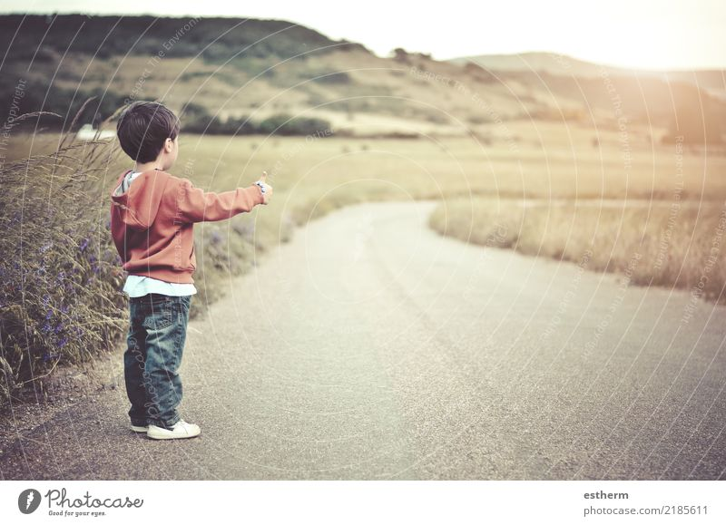 child on the road Child Human being Nature Vacation & Travel Loneliness Lifestyle Emotions Movement Boy (child) Freedom Trip Masculine Field Infancy Adventure