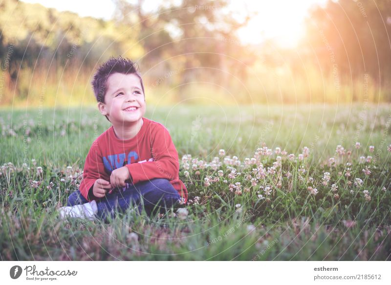 smiling child sitting in field Lifestyle Adventure Freedom Human being Masculine Child Toddler Infancy 1 3 - 8 years Nature Spring Summer Flower Garden Park