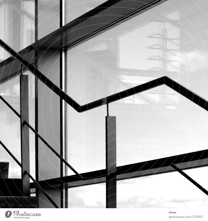 H10.1] - directives on set Interior design Architecture Window Glass Metal Perspective Staircase (Hallway) Diagonal Parallel Escape Carrier Steel carrier