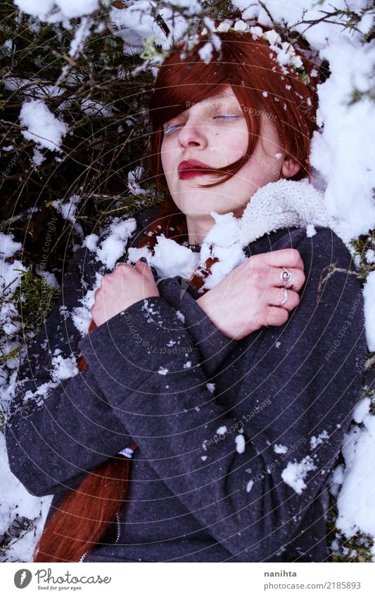 Young woman sleeping in the snow Human being Nature Youth (Young adults) Loneliness Winter 18 - 30 years Adults Environment Cold Feminine Snow