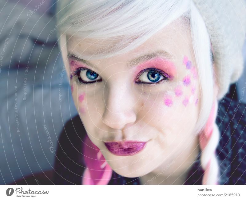 Young woman with blue eyes and pink make up Human being Youth (Young adults) Blue Beautiful White 18 - 30 years Face Eyes Adults Feminine Exceptional