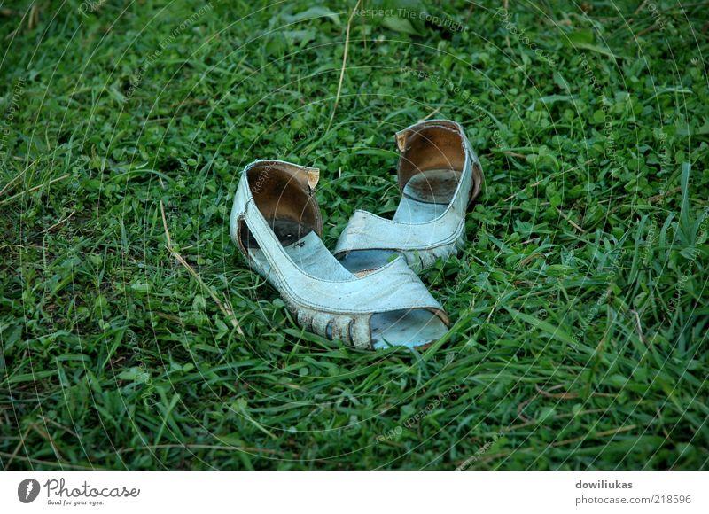 Old women's sandals Summer Summer vacation Garden Nature Grass Park Meadow Footwear Flip-flops Slippers Leather Dirty Bright Natural Gloomy Feminine Blue
