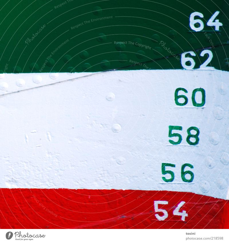 Starboard III Means of transport Navigation Green Red White Digits and numbers Rivet Dye Paintwork Metal Part Illustration 54 56 58 60 62 64 Colour photo