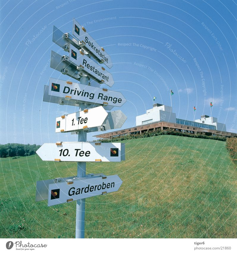 signpost Places Sports Road marking Golf Nature