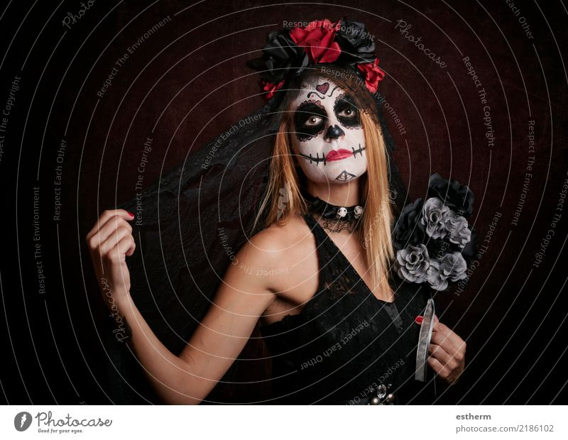young woman in halloween costume Woman Human being Vacation & Travel Youth (Young adults) Young woman Beautiful Loneliness Dark Adults Religion and faith