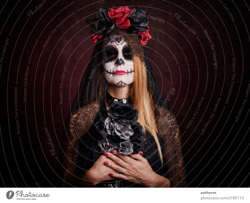 young woman in halloween costume Human being Feminine Young woman Youth (Young adults) Woman Adults 1 30 - 45 years Movement Feasts & Celebrations Dark