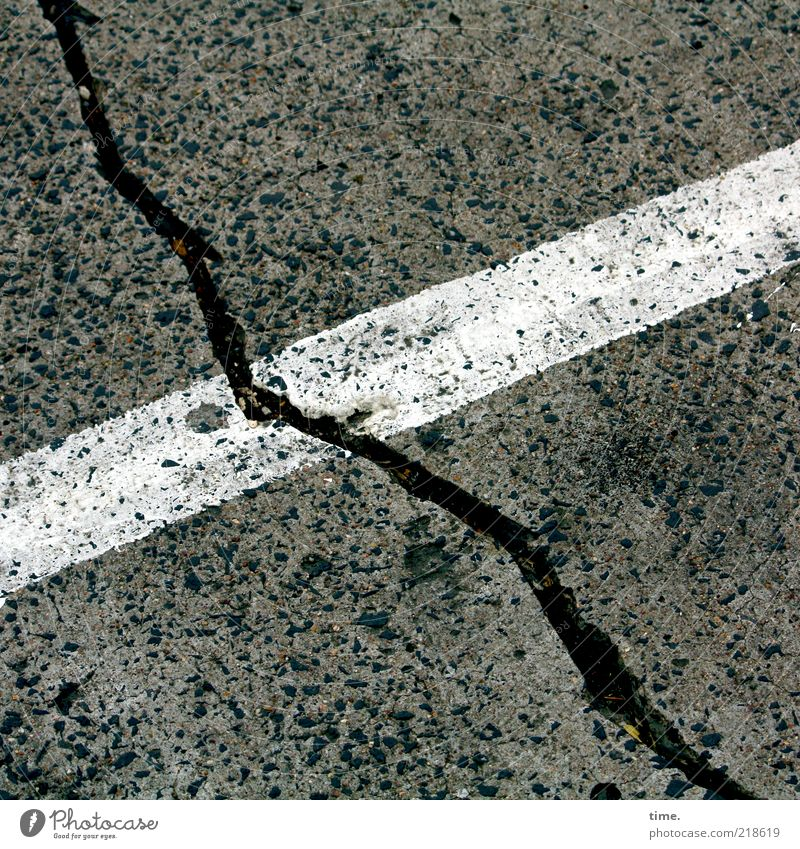 Black and White on Grey Concrete Stripe Dirty Colour Floor covering Ground Asphalt Tar Furrow Line Parking lot Diagonal Corner Exterior shot Deserted