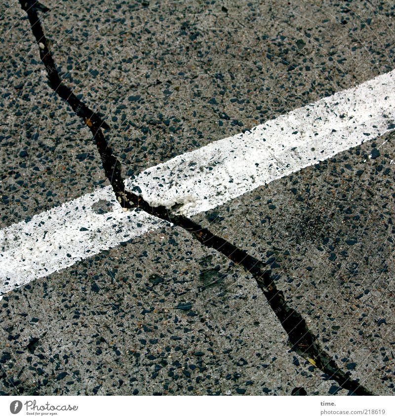 White Black Colour Line Dirty Concrete Corner Ground Floor covering Asphalt Stripe Diagonal Parking lot Crack & Rip & Tear Furrow Tar