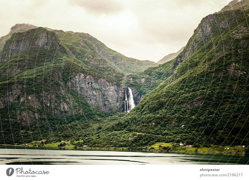 Waterfall in Norway Hiking Environment Nature Landscape Plant Clouds Summer Climate Climate change Weather Forest Mountain Fjord Vacation in Norway Deserted