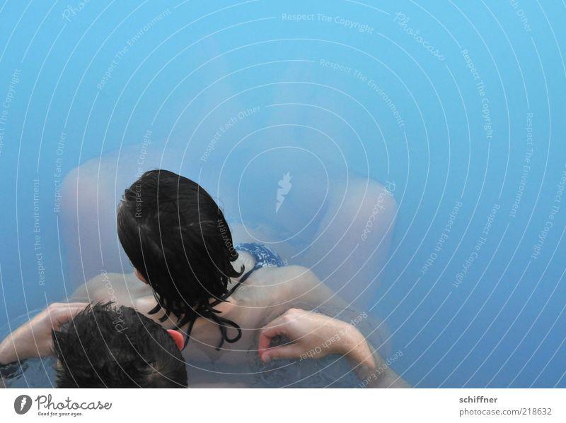 couple's bath Wellness Harmonious Spa Swimming & Bathing Woman Adults Man Couple Partner 2 Human being To enjoy Warmth Blue Joie de vivre (Vitality) Love