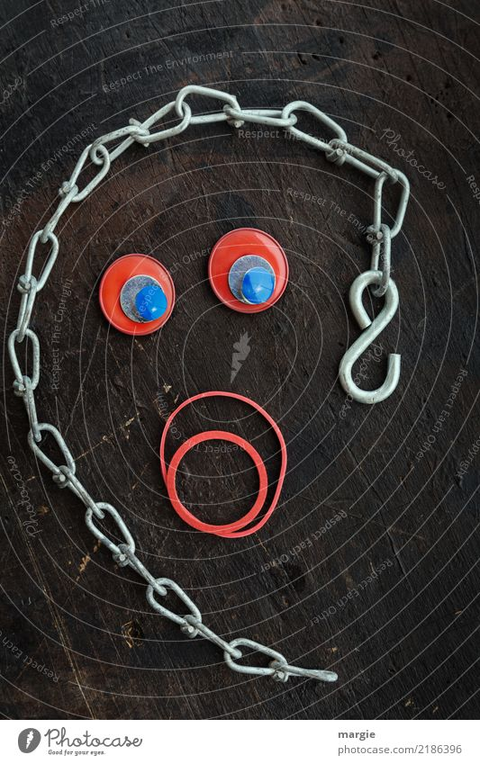 emotions...cool faces: collage face with chain and rubber rings Human being Feminine Woman Adults Face 1 Scream Brown Red Fear Horror Fear of death Chain