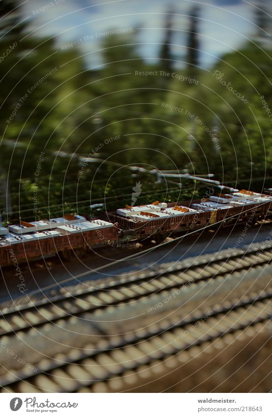 Green Blue Brown Transport Railroad Logistics Traffic infrastructure Means of transport Experimental Tilt-Shift Rail transport Freight train Model railroad