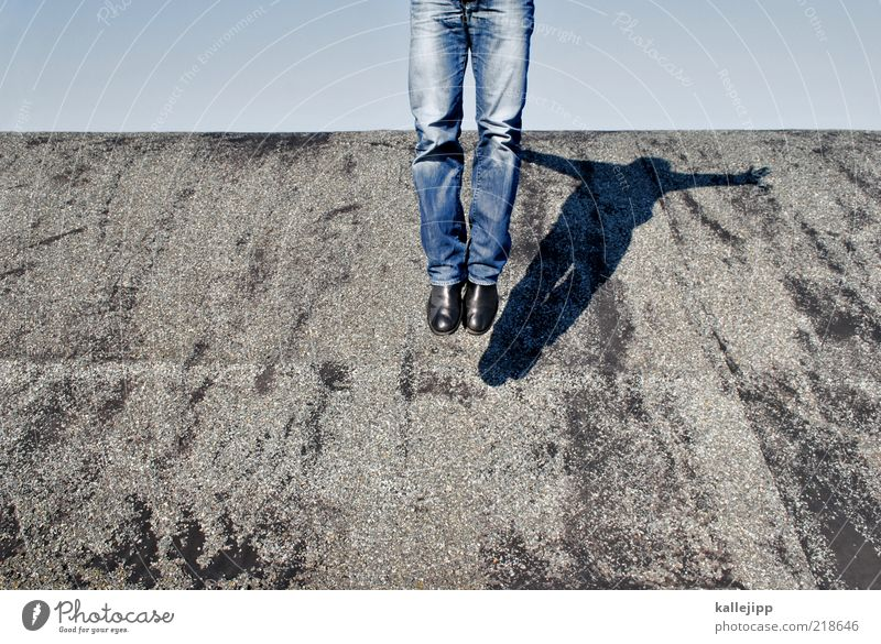 roof number Human being Legs 1 Jeans Boots Flying Jump Tar paper Colour photo Exterior shot Light Shadow Contrast Hover Easy Ease Weightlessness
