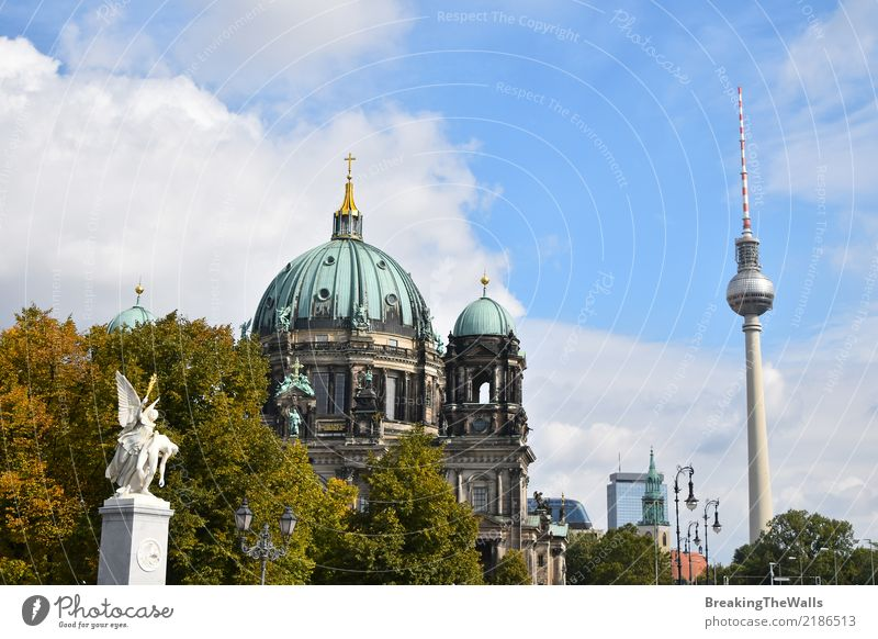 View of Berlin Cathedral and Television Tower Vacation & Travel Tourism Trip Sightseeing City trip Summer Sculpture Architecture Autumn Television tower