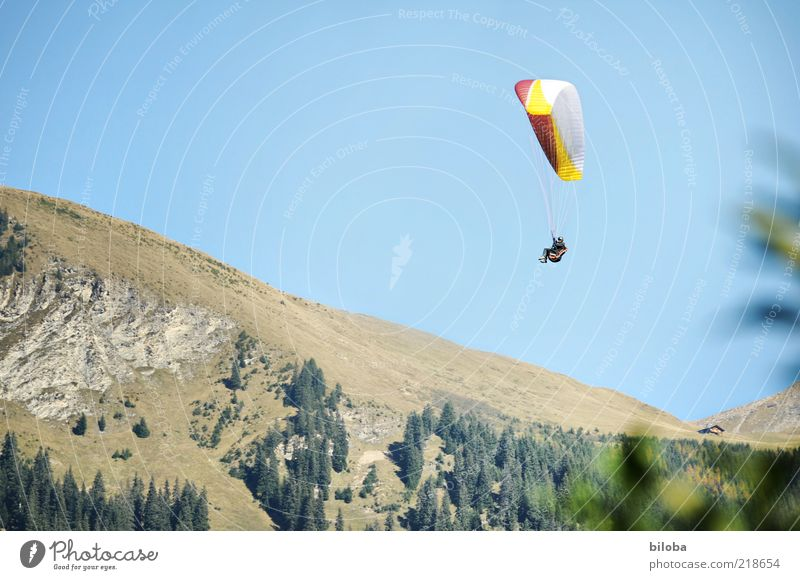 flying weather Sports Sky Wind Alps Mountain Flying Hang glider Parachute Flying sports Freedom Hover Glide Air Ease Adventure Longing Extreme sports