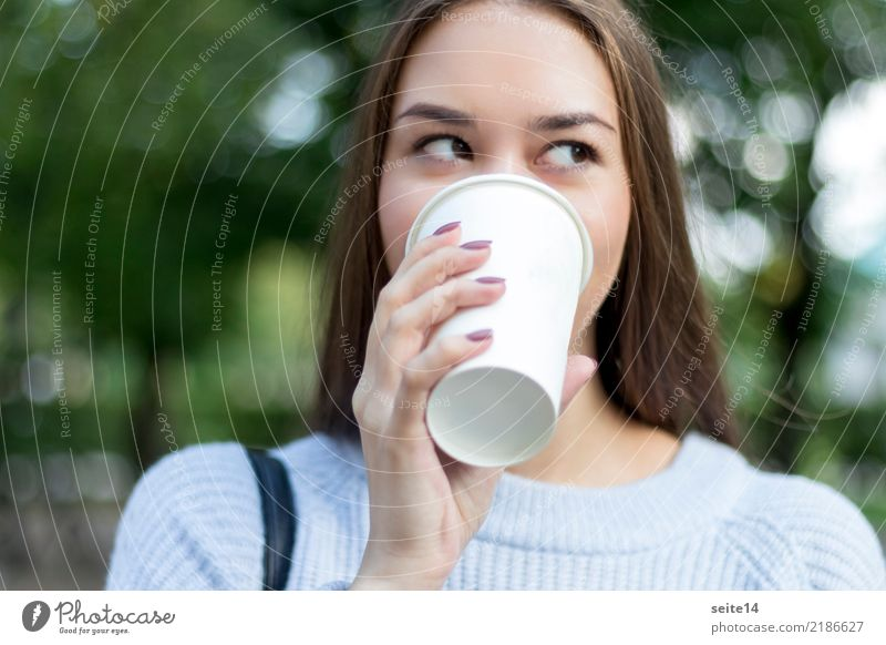 Coffee on campus Beautiful Coffee mug Mug Summer Sun Academic studies University & College student Girl Young woman Spring Long-haired Smiling Laughter Esthetic