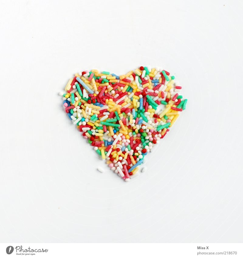 Love Nutrition Food Heart Sweet Romance Symbols and metaphors Delicious Candy Sugar Isolated Image Ingredients Emotions Multicoloured Granules Heart-shaped