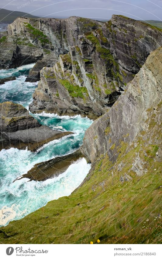 Cliffs of Kerry Environment Nature Landscape Plant Elements Rock Canyon Waves Coast Bay Ocean Aggression Fantastic Cold Maritime Power Vacation & Travel Risk