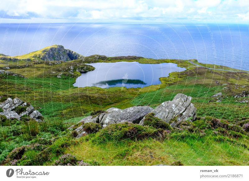 Lake and sea Plant Climate Hill Rock Coast Lakeside Blue Green Northern Ireland Pond Landscape Common Reed Mountain Slope calm sea Colour photo Deserted Day
