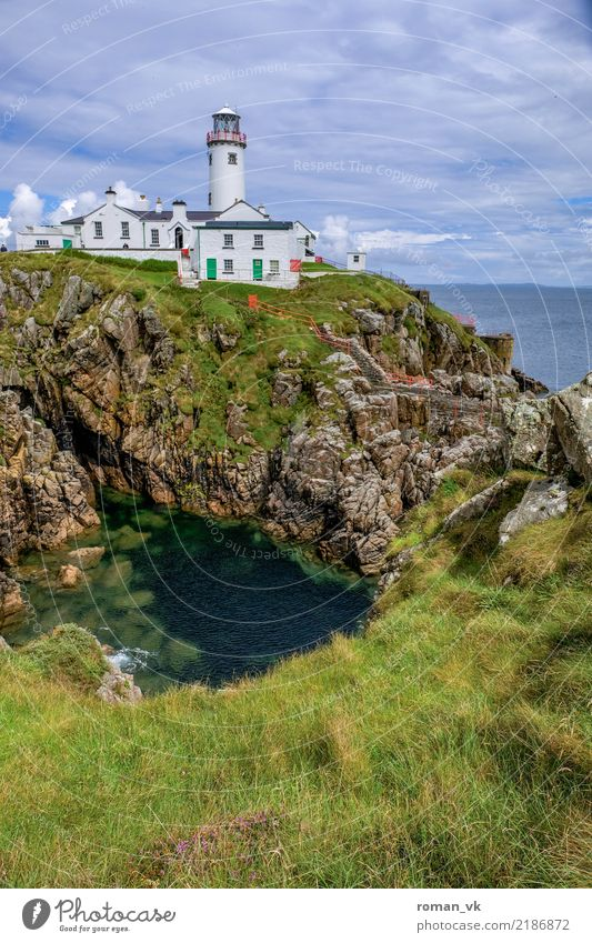 So the Irish don't get lost. Environment Nature Plant Water Sky Clouds Grass Meadow Ocean Island Deserted House (Residential Structure) Tower Lighthouse