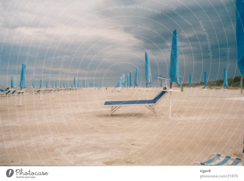 Beach Calm Sand Europe Umbrella Gale Couch Thunder and lightning