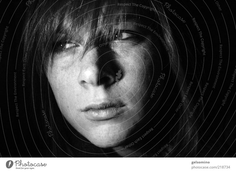 orifice Feminine Young woman Youth (Young adults) Head Lips 1 Human being 18 - 30 years Adults Bangs Looking Dark Black Black & white photo Interior shot