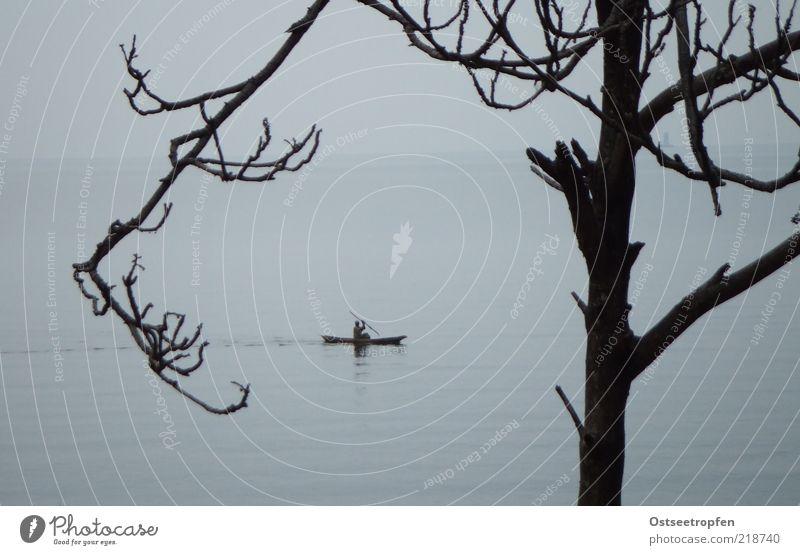 KigufI Vacation & Travel Freedom Aquatics 1 Human being Water Horizon Rain Tree Movement Far-off places Blue Gray Black Moody Calm Longing Wanderlust
