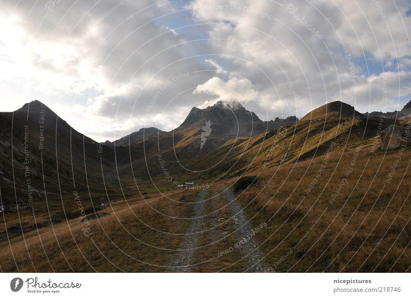 en route ... Nature Landscape Clouds Autumn Meadow Alps Mountain Peak Lanes & trails Authentic Colour photo Exterior shot Deserted Day Travel photography