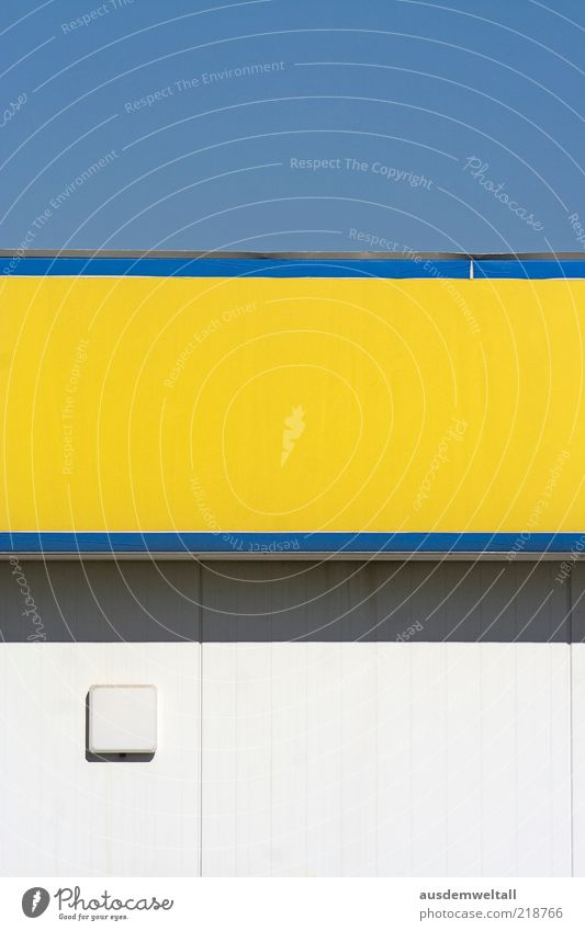 supermarket Blue Yellow Gray White Esthetic Colour photo Multicoloured Exterior shot Deserted Neutral Background Day Light Shadow Contrast Detail Blue sky