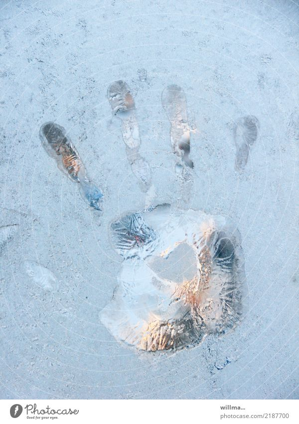 let go ... Hand Fingers handprint Winter Ice Frost Cold Frozen Window pane Imprint Colour photo Detail Deserted