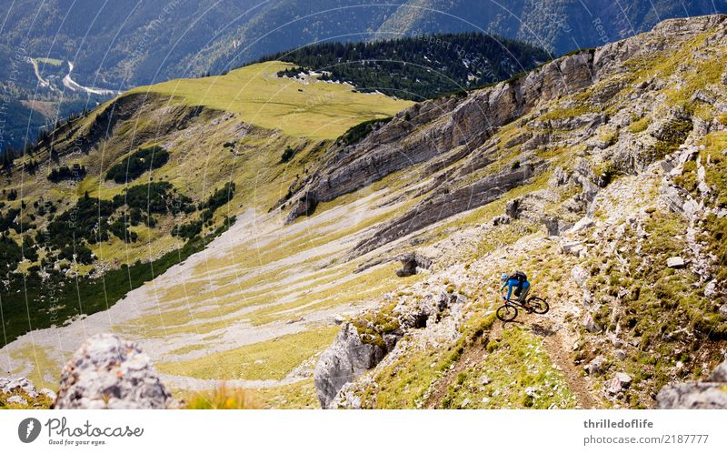 Sunny beginning of autumn in Karwendel Athletic Fitness Leisure and hobbies Sports Cycling Bicycle Mountain bike Environment Nature Landscape Autumn Hill Rock