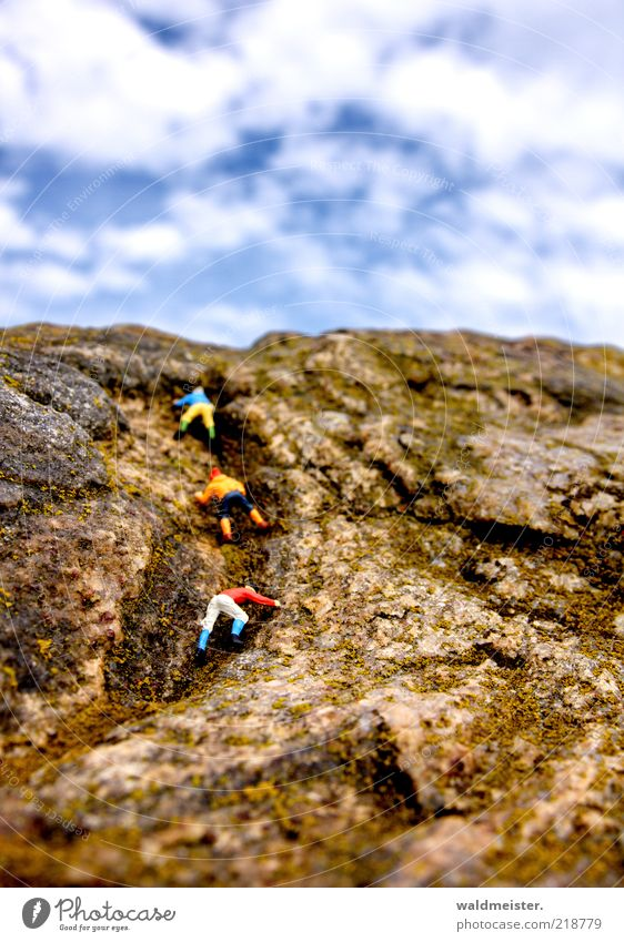 Rock climbers Fitness Sports Training Climbing Mountaineering Masculine Beautiful weather Exceptional Freedom Manikin Tilt-Shift Colour photo Multicoloured