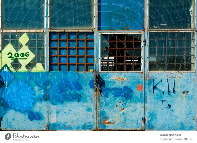 Blue Dark Graffiti Metal Door Factory Characters Broken Digits and numbers Transience Sign Steel Decline Past Chaos Window pane