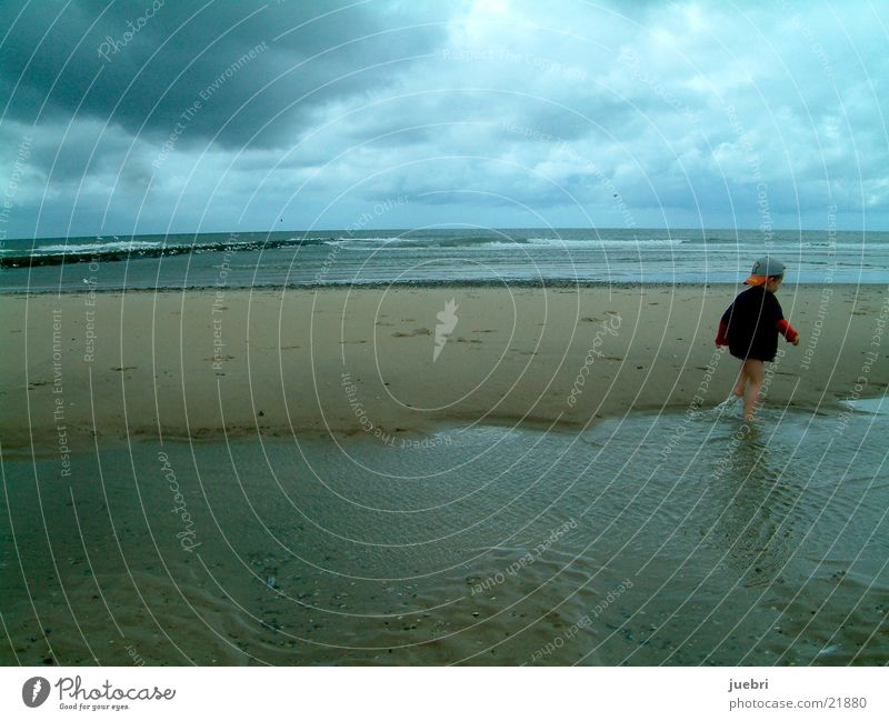 Child at the North Sea Clouds Beach Netherlands Storm Playing Graffiti Sand