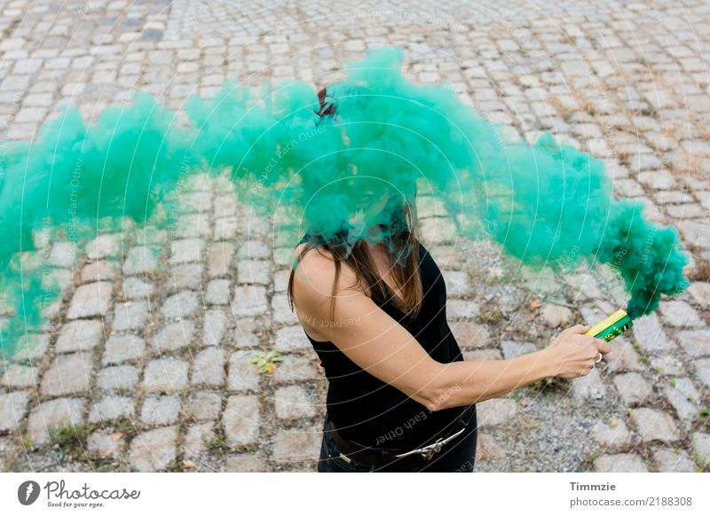 The amazing green smoke... Exotic Joy Young woman Youth (Young adults) 1 Human being 18 - 30 years Adults Artist Youth culture Shows Party Smoking Muscular