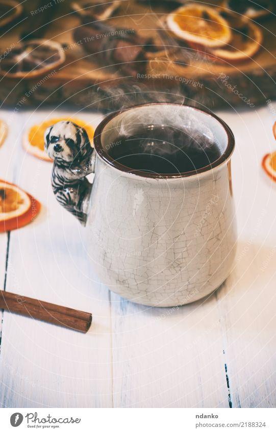 cup of hot tea with steam Fruit Breakfast Hot drink Tea Cup Retro White Slice citrus Cinnamon stick wood orange Lemon Cozy vintage ceramic mug food Colour photo