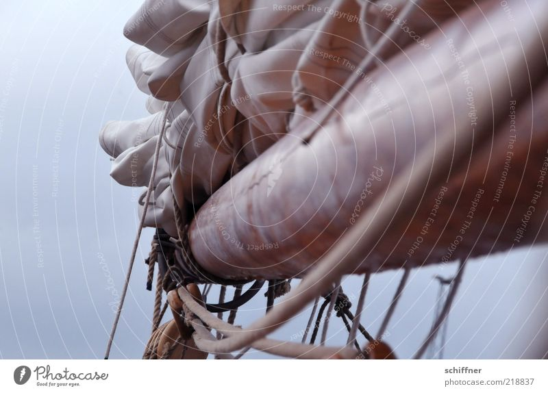 Board in front of the Kopp Navigation Fishing boat Sailboat Sailing ship Rope Authentic Rigging Mast Bond Suspended Fog Clouds Deserted Copy Space left