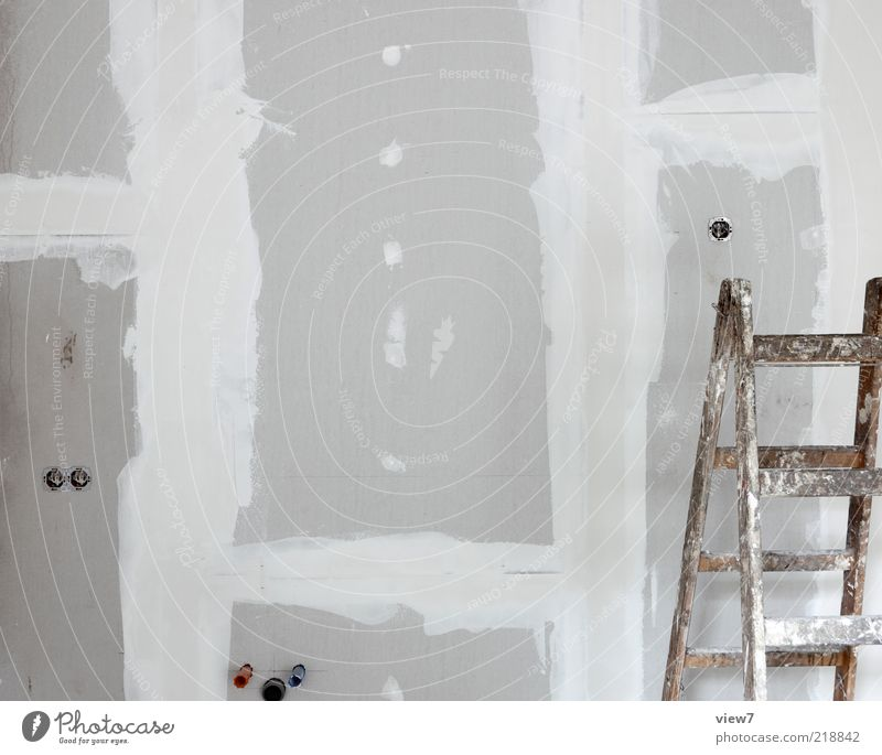 House (Residential Structure) Wall (building) Line Dirty Modern Authentic Simple Construction site Thin Stripe Interior design Make Craft (trade) Ladder Build