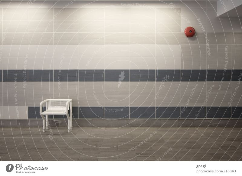 Blue White Red Loneliness Cold Gray Wait Gloomy Chair Clean Longing Tile Underground Train station Wanderlust Bell