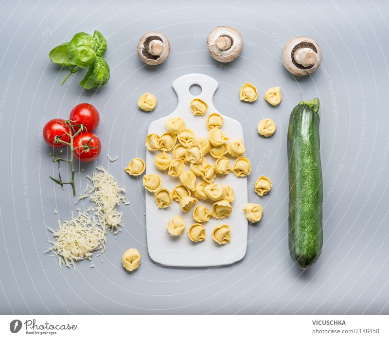 Tortellini with zucchini and mushrooms Food Vegetable Nutrition Lunch Dinner Banquet Italian Food Design Healthy Eating Restaurant Style Cooking Ravioli