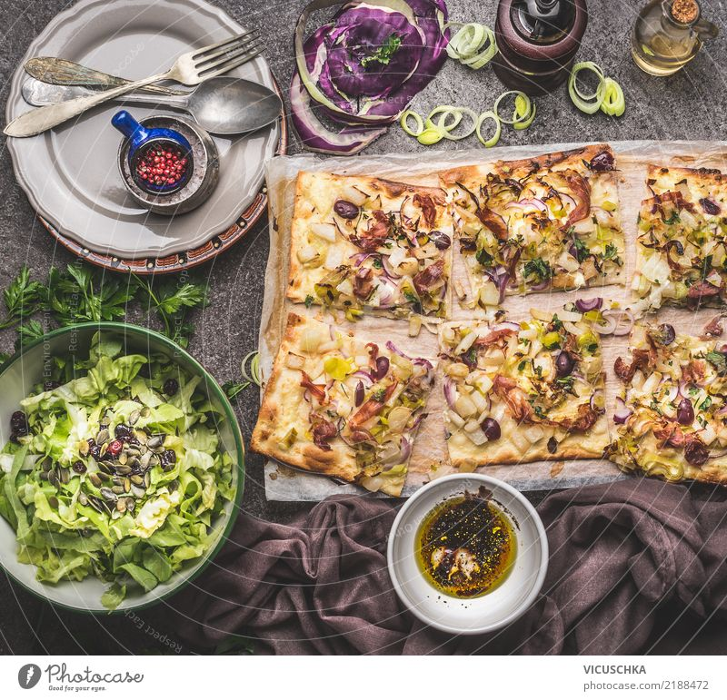 Flammkuchen with salad and dressing Food Vegetable Lettuce Salad Dough Baked goods Herbs and spices Cooking oil Nutrition Lunch Dinner Organic produce