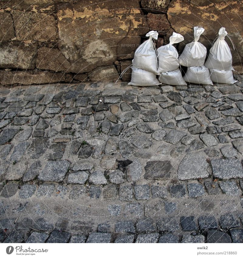 Mobile dike Bautzen Germany Old town Wall (barrier) Wall (building) Facade Sidewalk Cobbled pathway Cobblestones Utilize Stand Wait Firm Willpower Might Brave