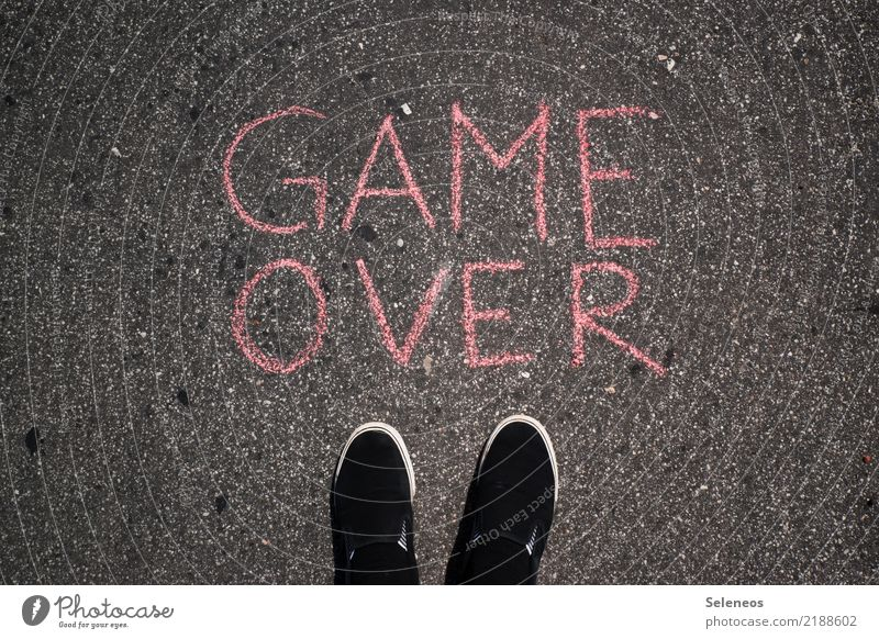 game over Leisure and hobbies Playing Board game Game of cards Game of chance Computer games Human being Feet 1 Footwear Sign Characters Signs and labeling