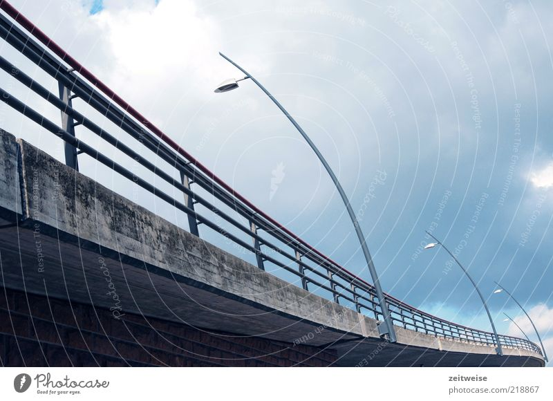 Sky Blue Clouds Street Lamp Cold Gray Lanes & trails Concrete Bridge Modern Construction site Manmade structures Traffic infrastructure Curve Handrail