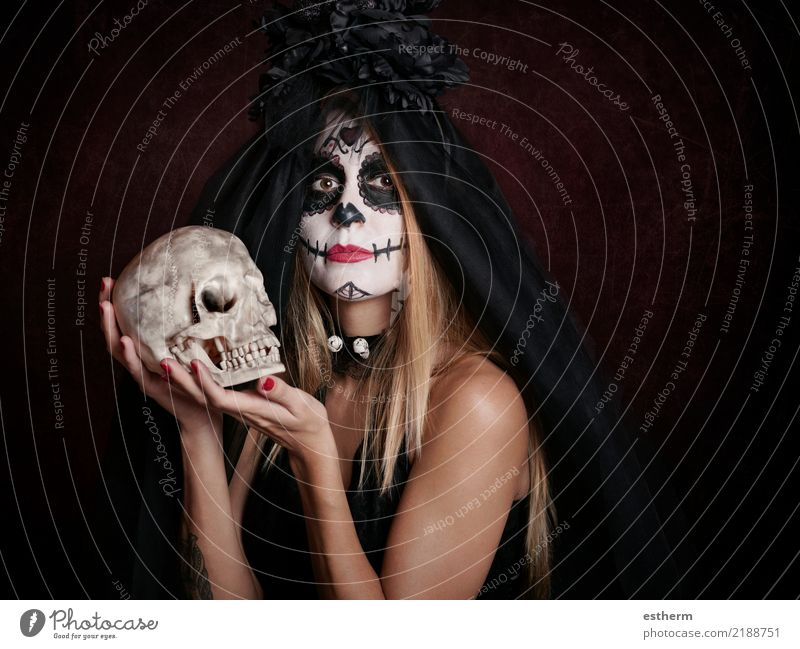 young woman in halloween costume Woman Human being Vacation & Travel Youth (Young adults) Young woman Beautiful Dark Adults Religion and faith Lifestyle