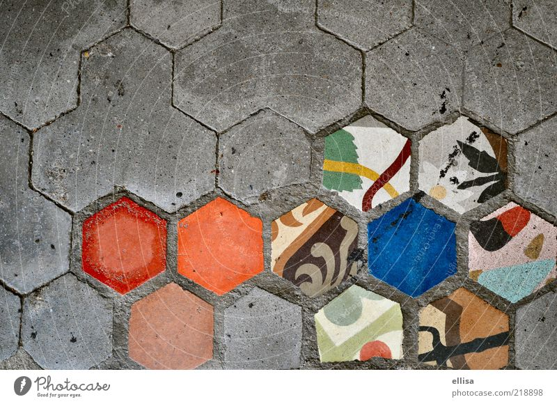 fragment Flower Discover Hexagon Paving stone Tile Pattern Gray Blue Mosaic Multicoloured Copy Space left Copy Space top Deserted Honeycomb pattern Colour photo