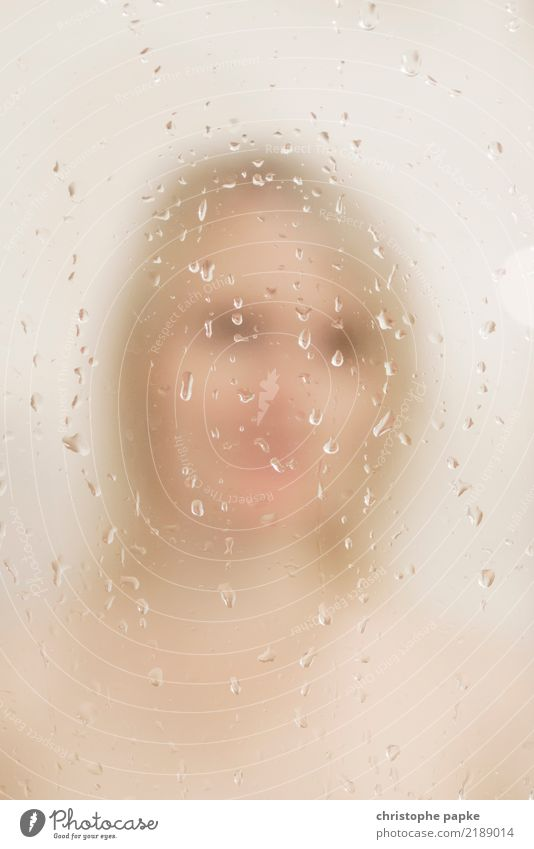 Behind water drops Living or residing Flat (apartment) Bathroom Feminine Young woman Youth (Young adults) Face 1 Human being 30 - 45 years Adults Blonde Water