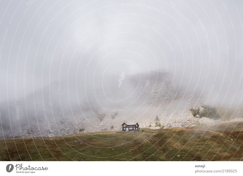 Nature Landscape House (Residential Structure) Loneliness Mountain Dark Environment Autumn Sadness Meadow Gray Fog Gloomy Hill Bad weather Alpine pasture