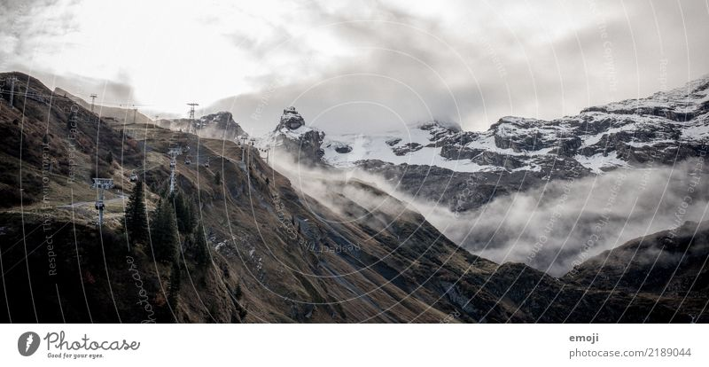 Nature Landscape Mountain Dark Environment Cold Snow Rock Threat Alps Storm Switzerland Bad weather Mystic Force of nature Engelberg